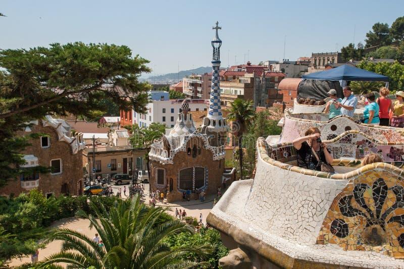 Парадный вход к Parc Guell Барселона стоковое изображение rf