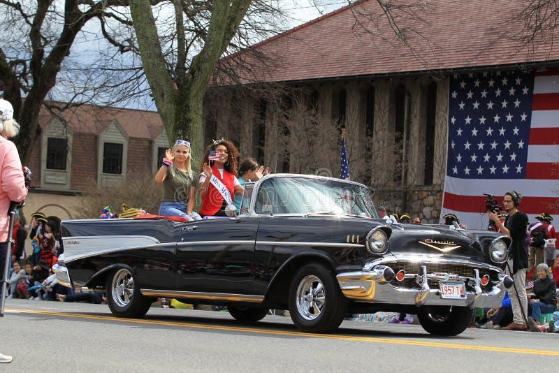 Парад дня патриотов в Lexington, МАМАХ 15-ого апреля 2019 стоковые фотографии rf