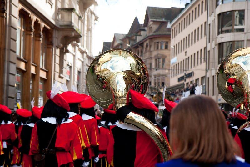 Парад, масленица в Базеле, Швейцарии стоковое фото