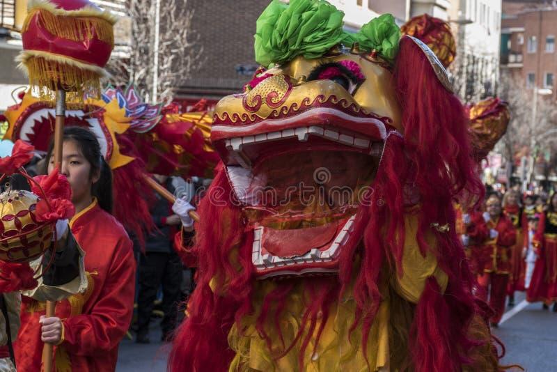Парад торжества китайского Нового Года, года собаки стоковые изображения rf