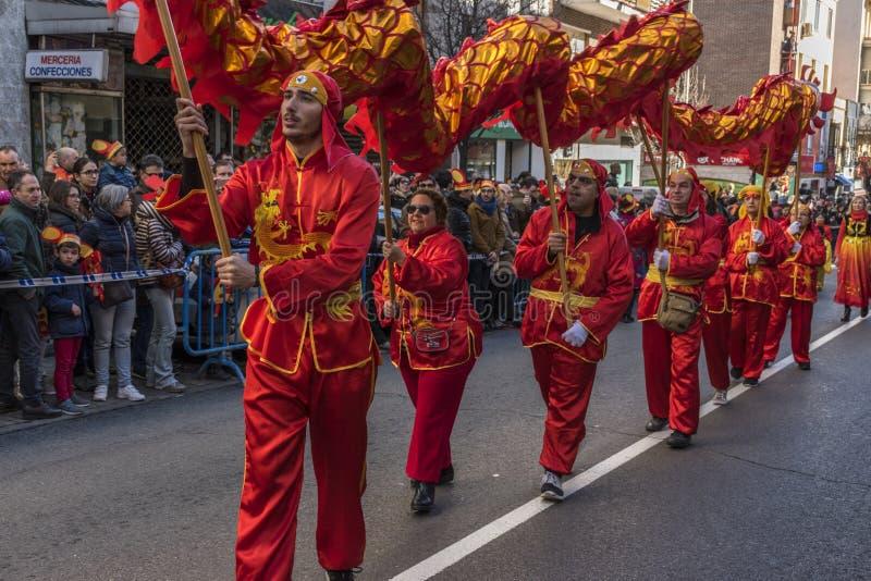 Парад торжества китайского Нового Года, года собаки стоковое изображение