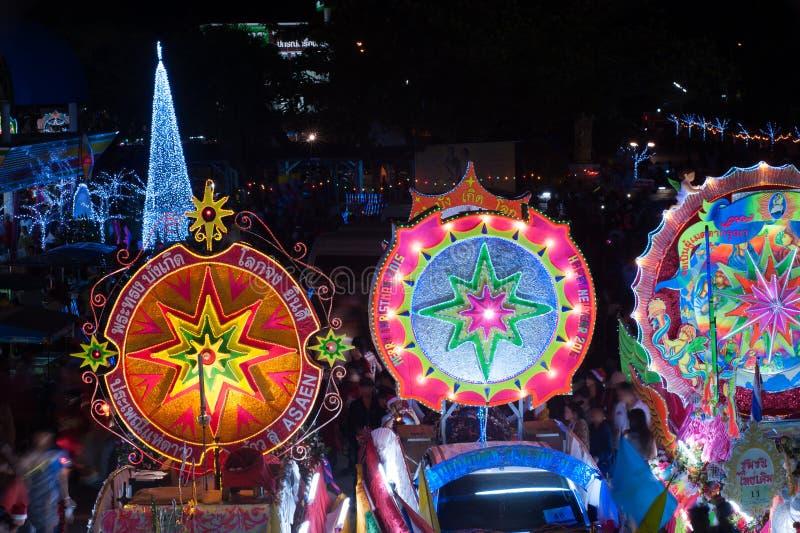 Парад фестиваля звезды рождества в Sakon Nakhon, Таиланде стоковое фото