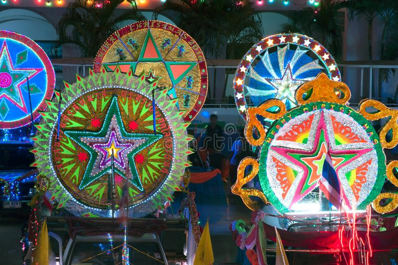 Парад фестиваля звезды рождества в Sakon Nakhon, Таиланде стоковое изображение rf