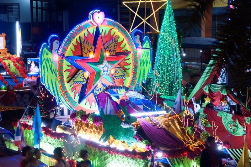 Парад фестиваля звезды рождества в Sakon Nakhon, Таиланде стоковое изображение