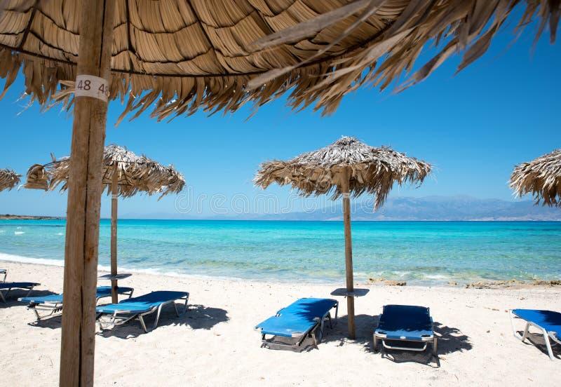 Парасоли и loungers солнца на пляже около моря стоковое фото rf