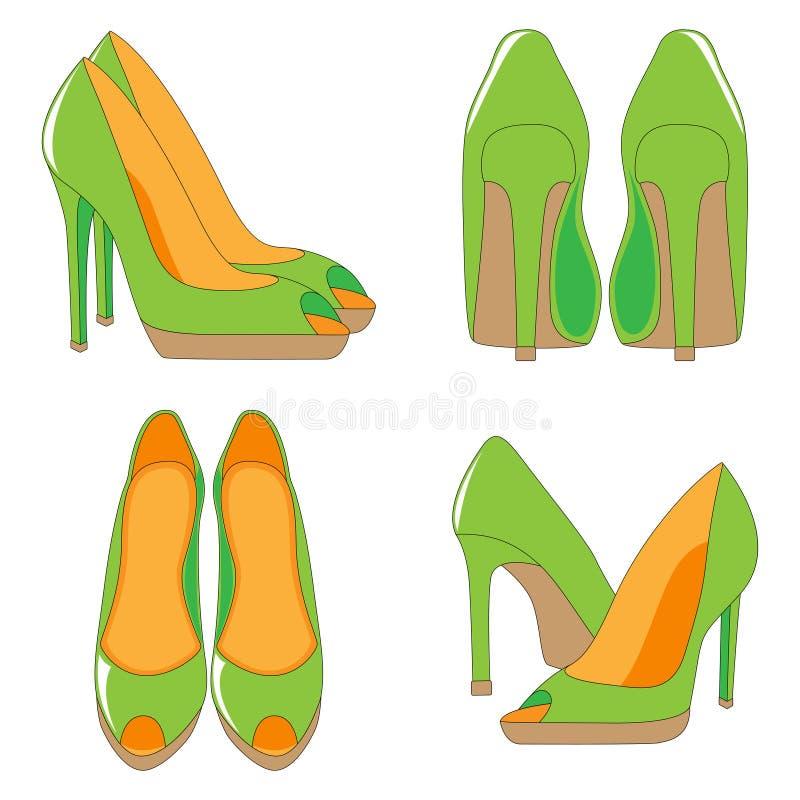 Пара высоко-накрененных ботинок иллюстрация вектора