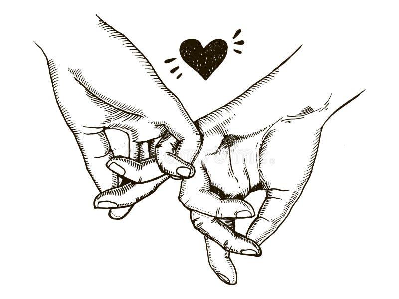 Пара в владении влюбленности вручает вектор гравировки иллюстрация вектора