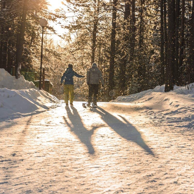 Пара в влюбленности идет на дорогу зимы снежную в лесе стоковые фотографии rf