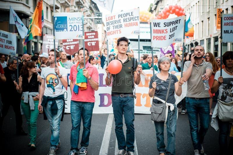 Парад гей-парада в милане 29-ого июня 2013 стоковое фото rf