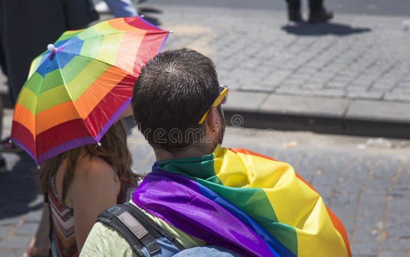 Парад гей-парада ТЕЛЬ-АВИВ - ИЗРАИЛЯ 12-ое июня 2015 Тель-Авив стоковые изображения