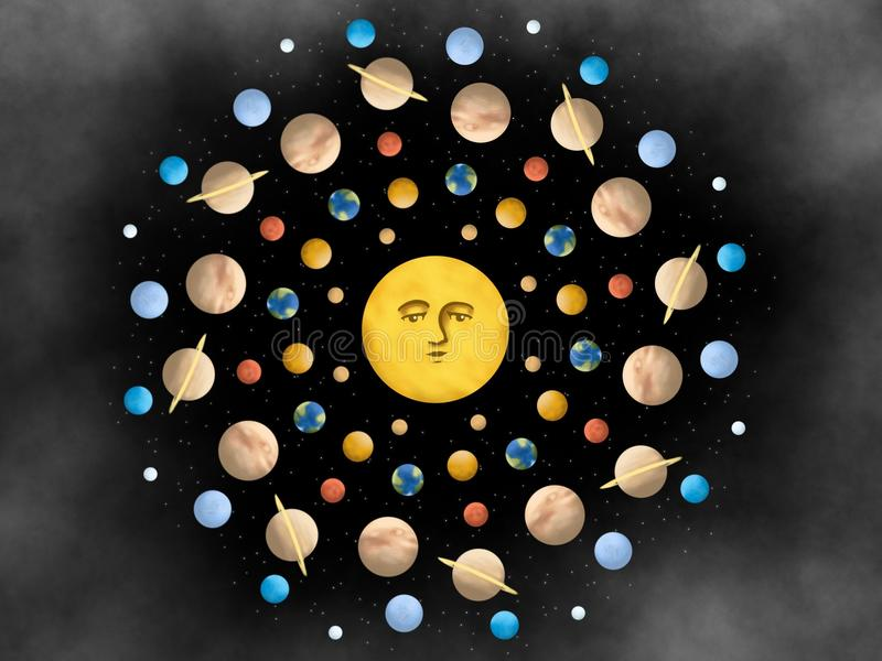 Параллельная иллюстрация дизайна мандалы вселенной иллюстрация вектора