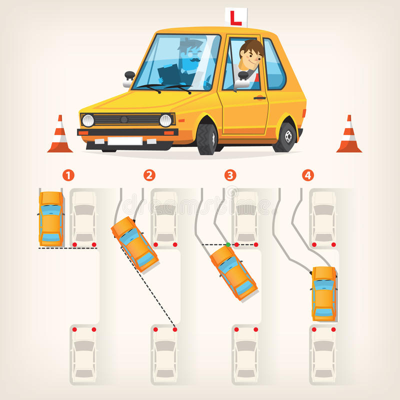Параллельная схема автостоянки иллюстрация штока