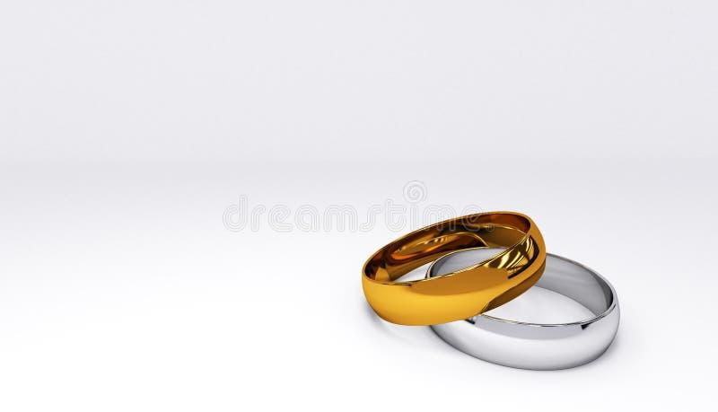 Пара золота и серебряных обручальных колец бесплатная иллюстрация