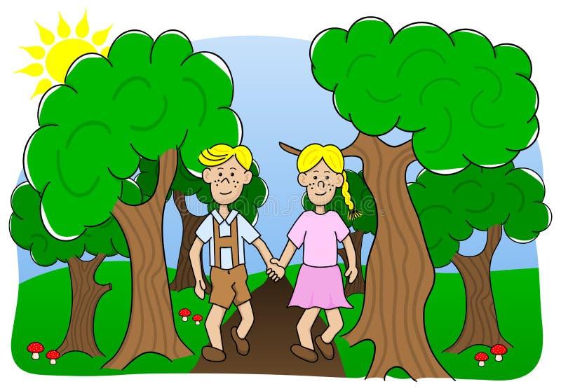 Пара идя через древесины иллюстрация штока