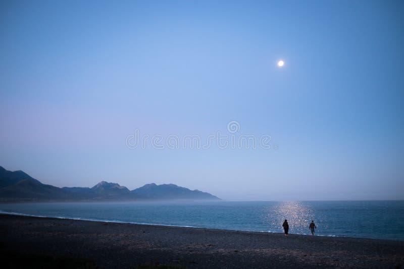 Пара наслаждаясь ландшафтом освещенным луной Окружающая среда тиха и мирна Это было принято в Kaikoura, Новую Зеландию Пара стоковые изображения rf