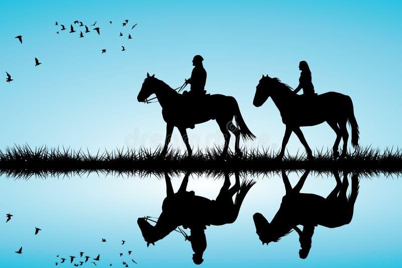 Пара на езде лошади иллюстрация вектора