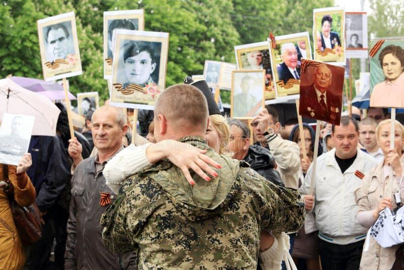 Парад победы в Донецке Бессмертный полк 9-ое мая 2015 стоковые изображения