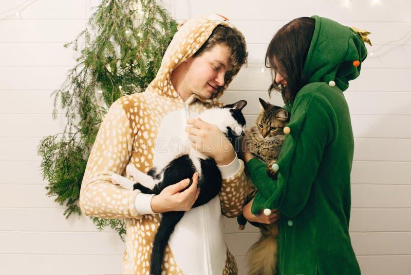 Пара праздничных пижам обнимают своих кошек и веселятся на современном рождественском дереве с огнями Празднование Рождества или  стоковые изображения