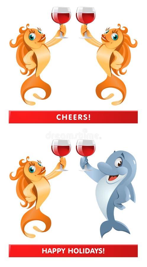 Пара рыбки и дельфина давая приветственные восклицания здравицы! Счастливый h бесплатная иллюстрация