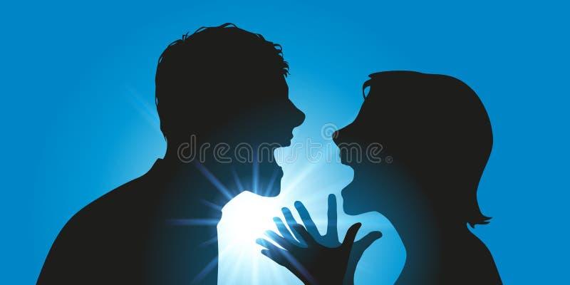 Пара спорит оскорблять лицом к лицу иллюстрация вектора