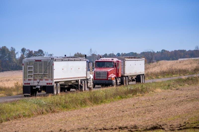 Пара тележек зерна ждет полем фермера стоковые фотографии rf