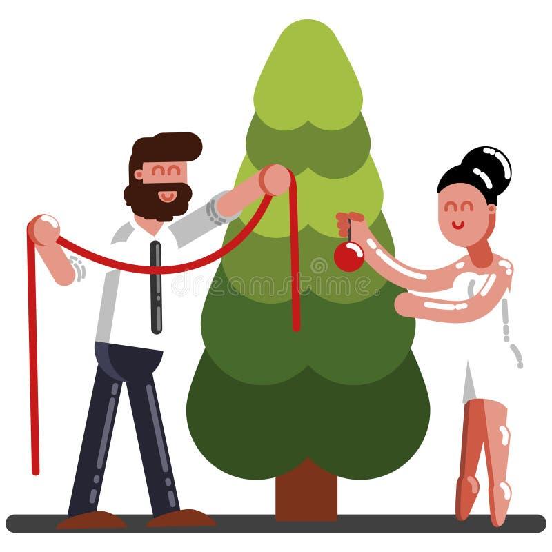 Пара украшает дерево Нового Года бесплатная иллюстрация