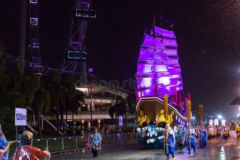 Парад Chingay держится во время китайского Нового Года стоковое изображение rf