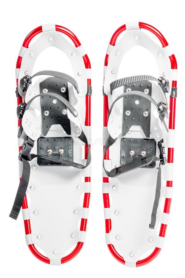 Пара snowshoes на зима идет на белую предпосылку стоковое фото rf