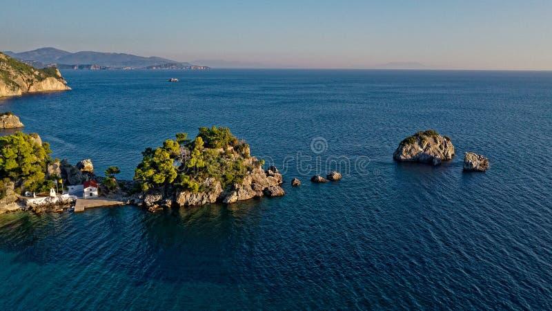 Паргасский остров на закате стоковые фото