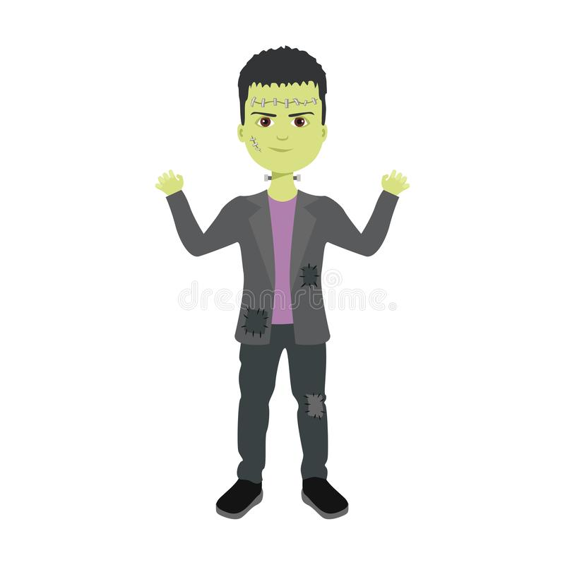 Парень в костюме Франкенштейна Векторная иллюстрация мальчика в костюме милого смешного монстра иллюстрация вектора