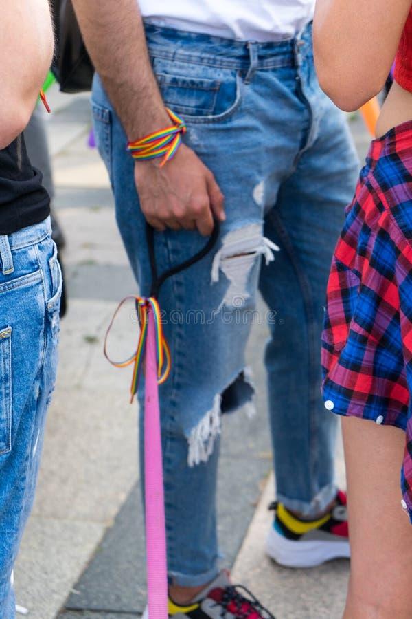 Парень гея с концепцией сексуального меньшинства Рука и рука Гай с wristbands радуги outdoors розовый поводок собаки в фестивале  стоковые фото