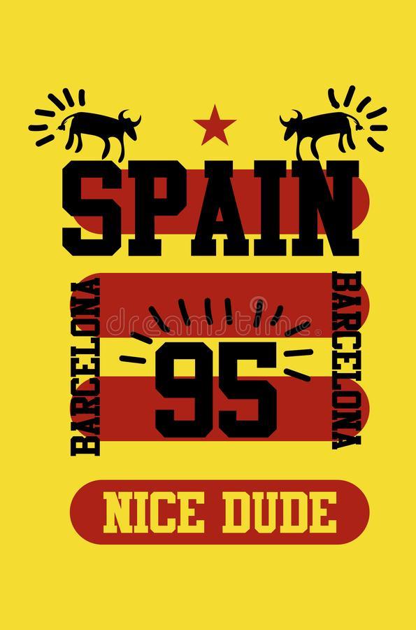 Парень Испании славный, Барселона, вектор моды дизайна футболки [Convertido] иллюстрация штока