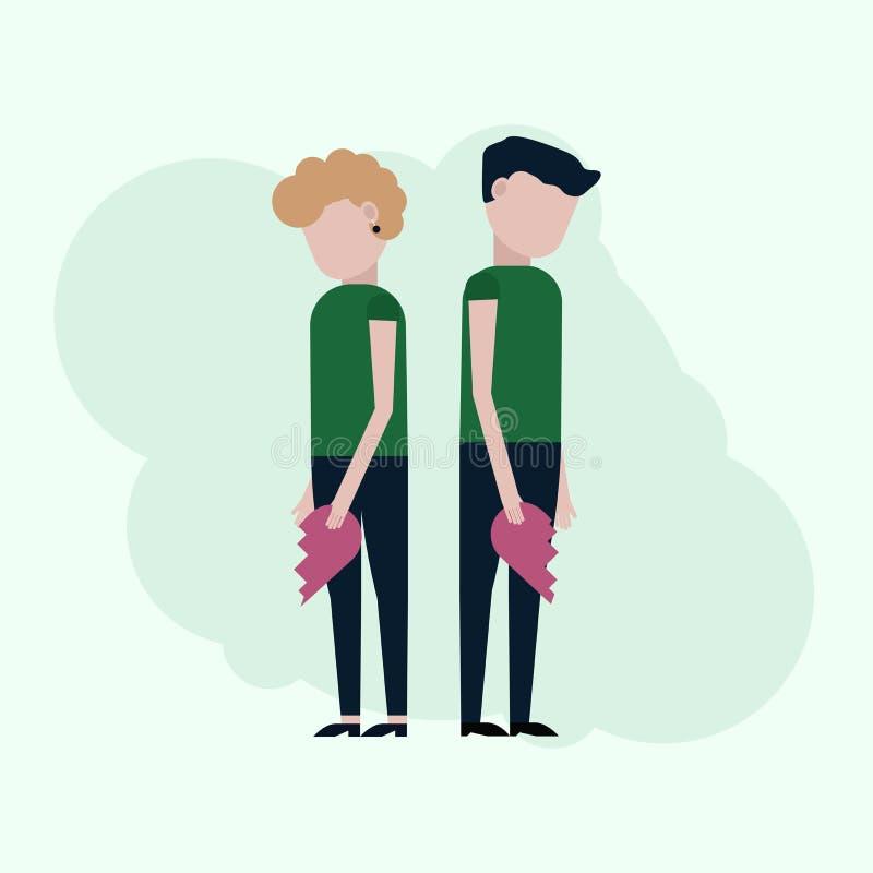 Парень и девушка держат половины сердец иллюстрация штока