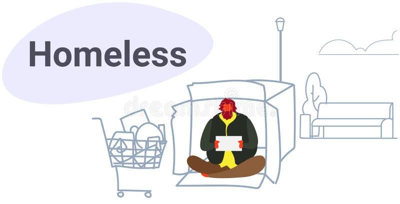 Парень коробки cardborad усаживания бедного человека умоляя для попрошайк иллюстрация вектора