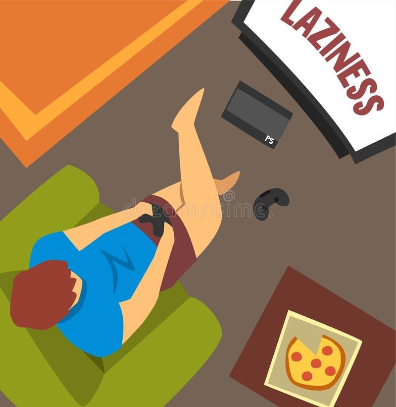 Парень лени сидя дома и играя игры, плох привычка и наркомания современного общества vector иллюстрация бесплатная иллюстрация