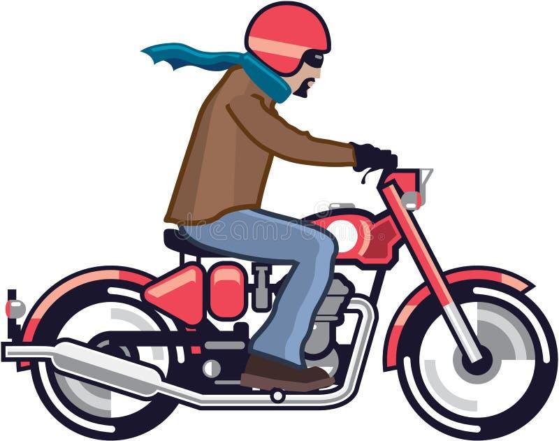 Парень на мотоцикле иллюстрация штока