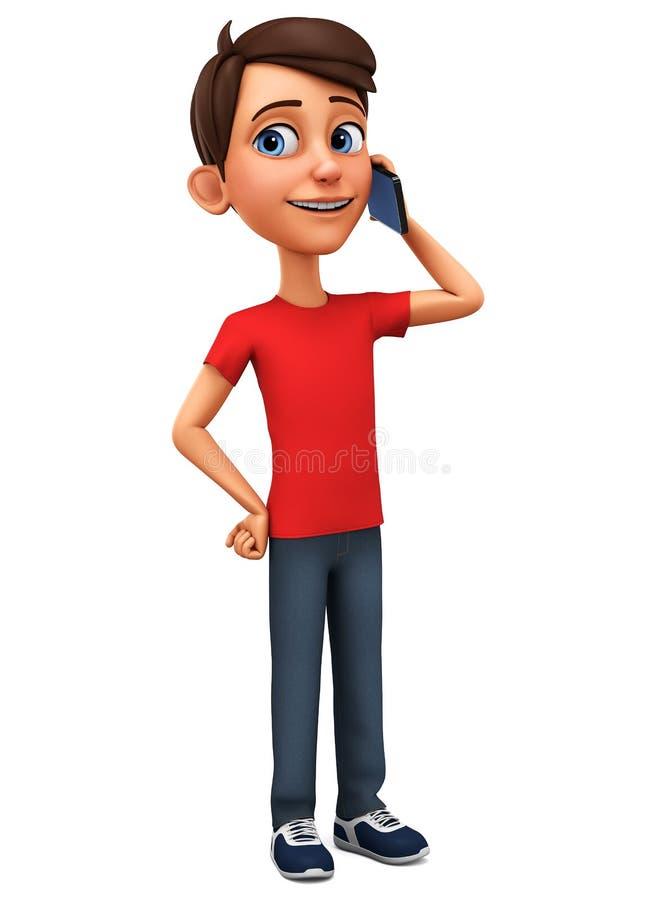 Парень персонажа из мультфильма говоря по телефону на белой предпосылке r Иллюстрация для рекламировать бесплатная иллюстрация