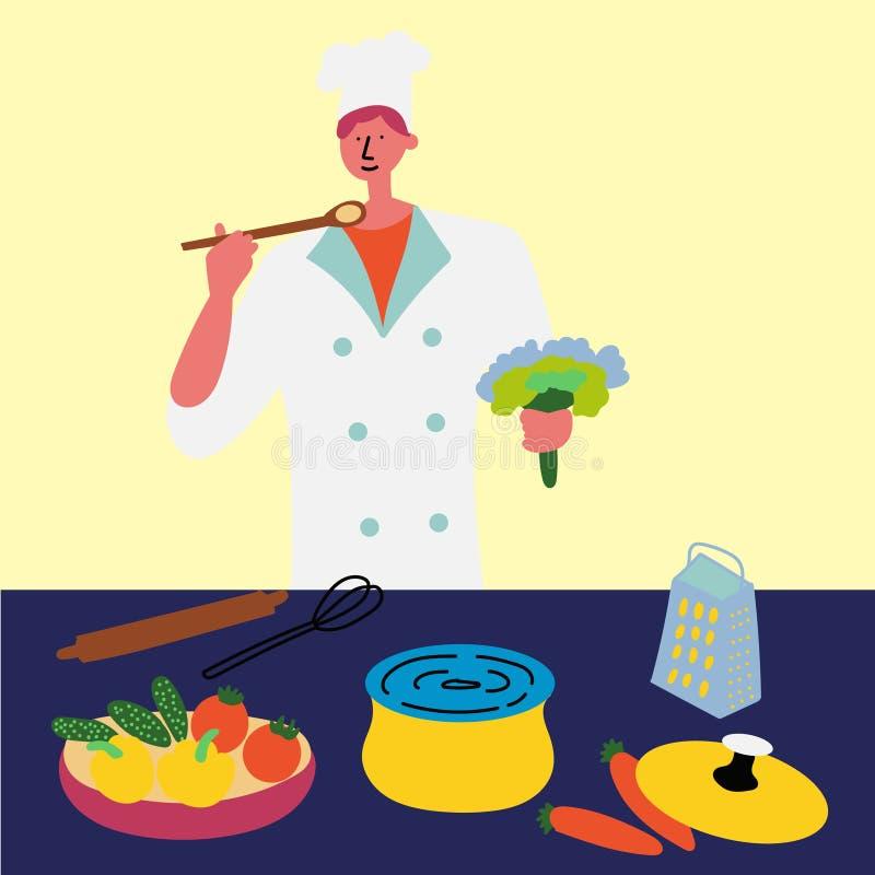 Парень повара подготавливает здоровый овощной суп иллюстрация вектора