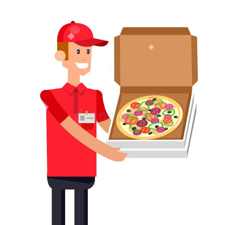 Парень поставки пиццы шаржа иллюстрация вектора