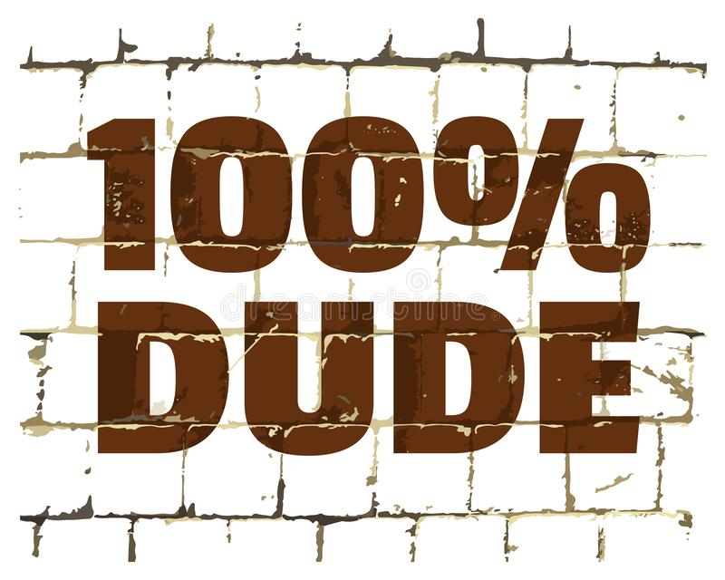 парень 100 процентов напечатанный на стилизованной кирпичной стене Текстурированная юмористическая надпись для вашего дизайна век иллюстрация штока