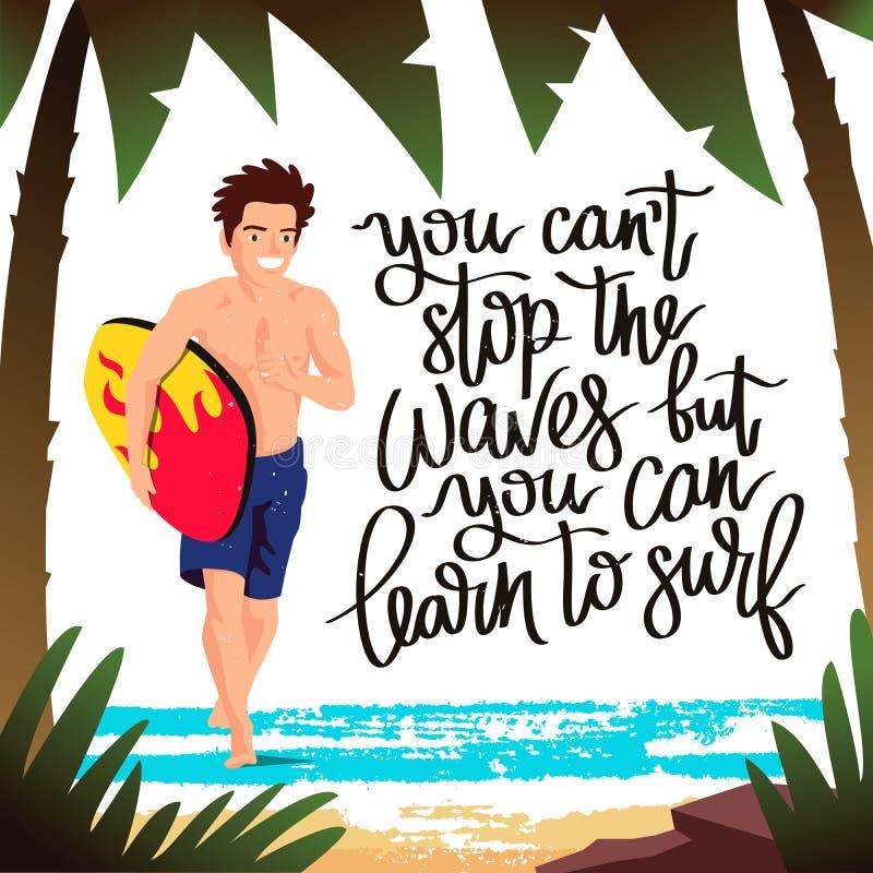 Парень - серфер бежать с surfboard бесплатная иллюстрация
