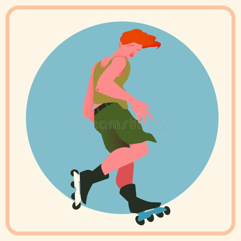 Парень с красными волосами на коньках ролика на голубой предпосылке круга Сильный выразительный спортсмен в движении иллюстрация вектора