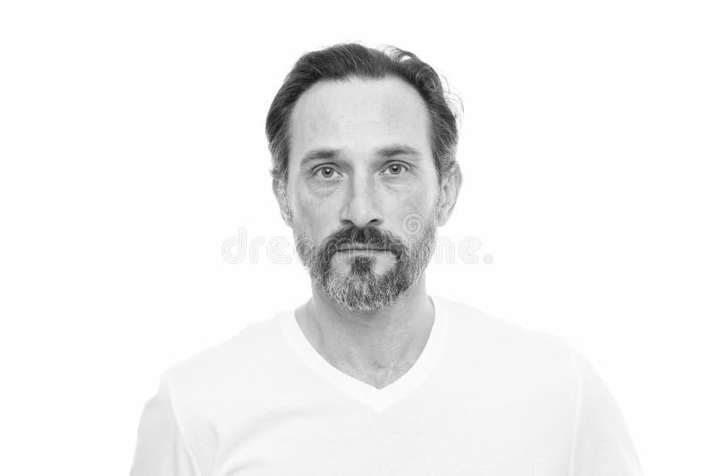 Парень человека бородатый с предпосылкой усика белой Проводник волос на лице холя Парень хипстера красивый бородатый привлекатель стоковое изображение