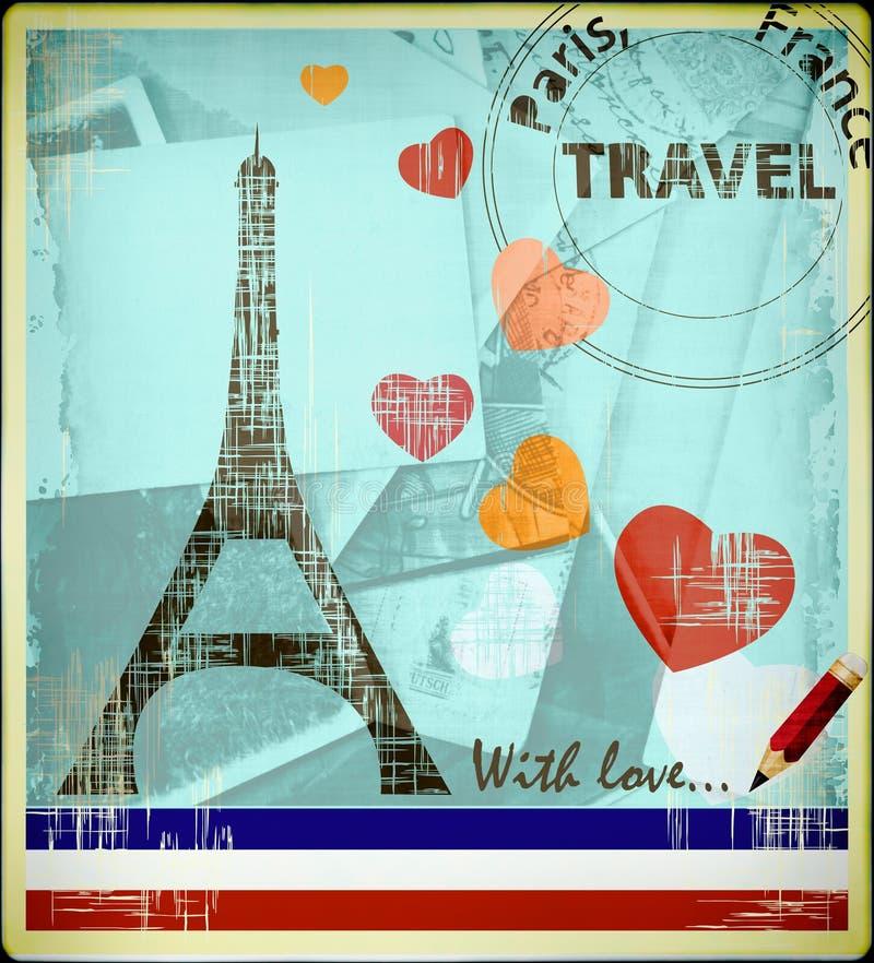 парижская открытка иллюстрация вектора