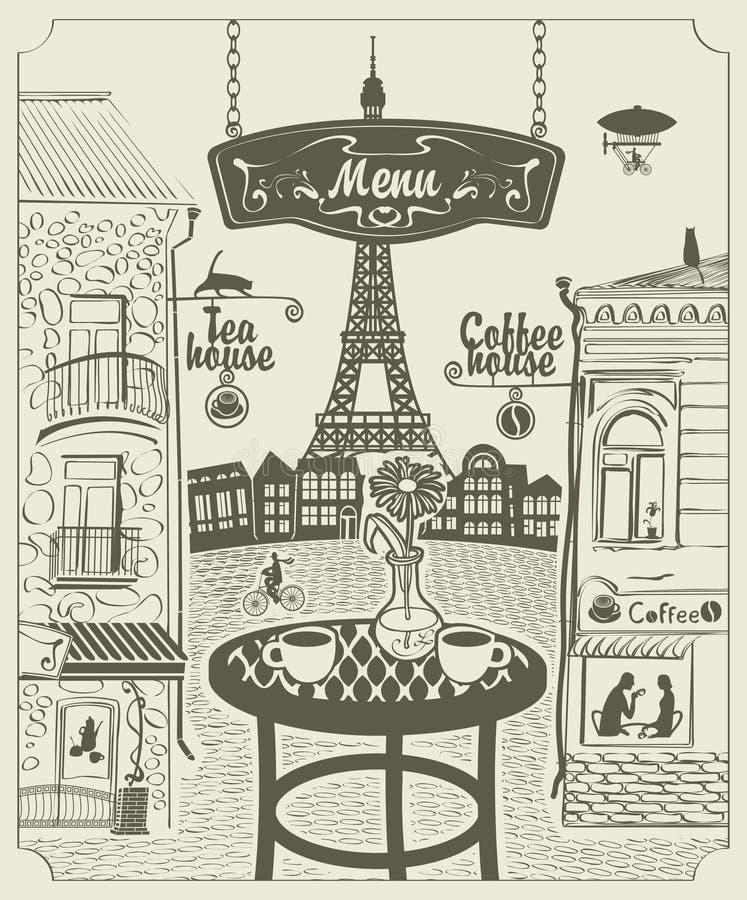 Парижский ресторан иллюстрация вектора