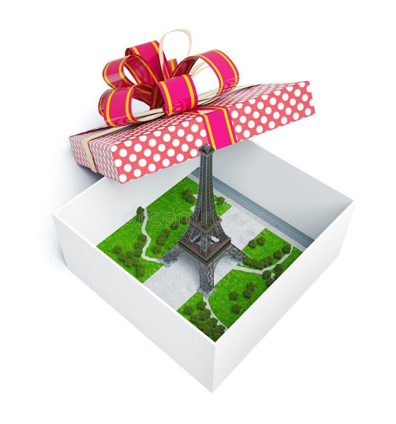 Париж в подарочной коробке иллюстрация штока