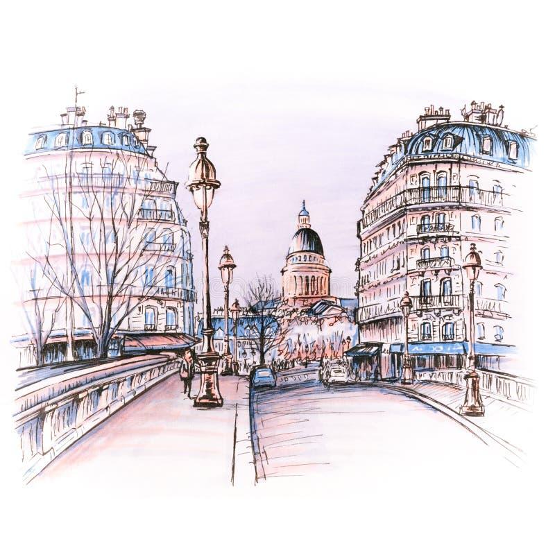 Париж в утре зимы, Франция бесплатная иллюстрация