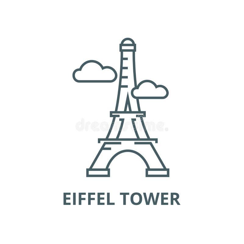 Париж, линия значок вектора Эйфелевой башни, линейная концепция, знак плана, символ бесплатная иллюстрация