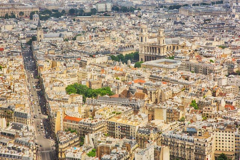 ПАРИЖ, ФРАНЦИЯ, вид с воздуха панорамы от башни Montparnasse стоковая фотография