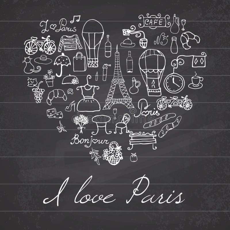 Париж doodles элементы Нарисованная рукой установленная башня withefel развела цветки и велосипед кафа Рисуя собрание doodle, в ф иллюстрация вектора